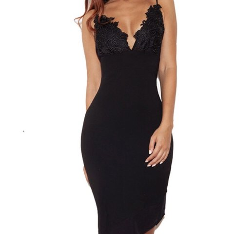 efa24c274172 House of CB / Celeb Boutique black slip dress with lace and - Depop
