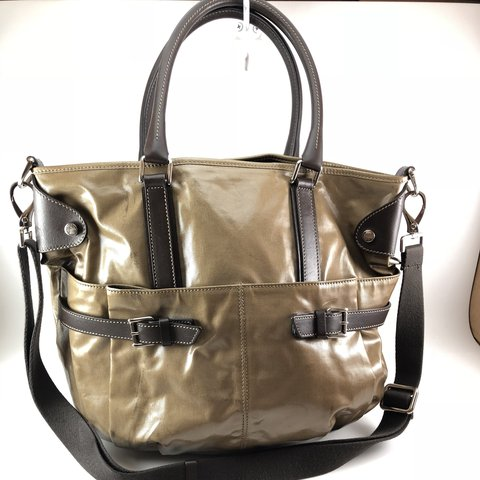 cfb0aa047de20 Tod's J-Bucket Media Tote in taupe coated canvas and brown 2 - Depop