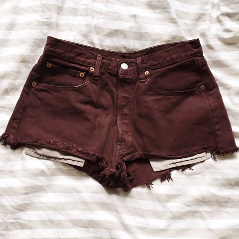 8c18d9a35b Burgundy #levis high waisted shorts. Style 501. Would fit a - Depop