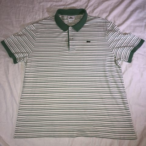 360cd601 Lacoste Striped Polo shirt off white green Size L/7 Please - Depop