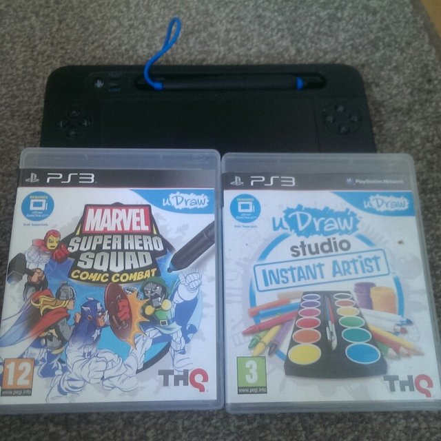Ps3 Udraw Drawing Tablet With Two Games Udraw Studio Instant Depop