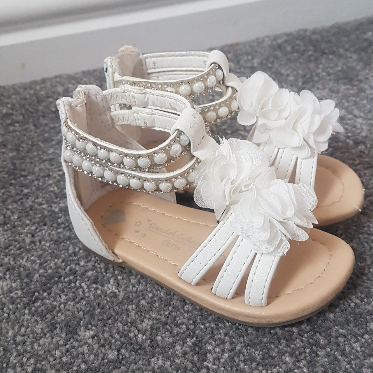 Girls white sandals size 4 great