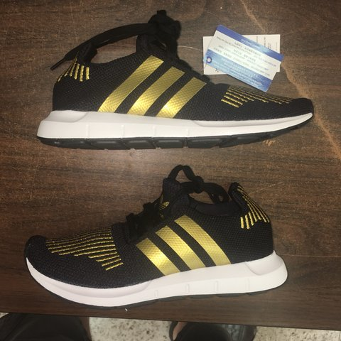 fd3a6479f460 Adidas Women s Swift Run Color  Black and Gold Brand New in - Depop