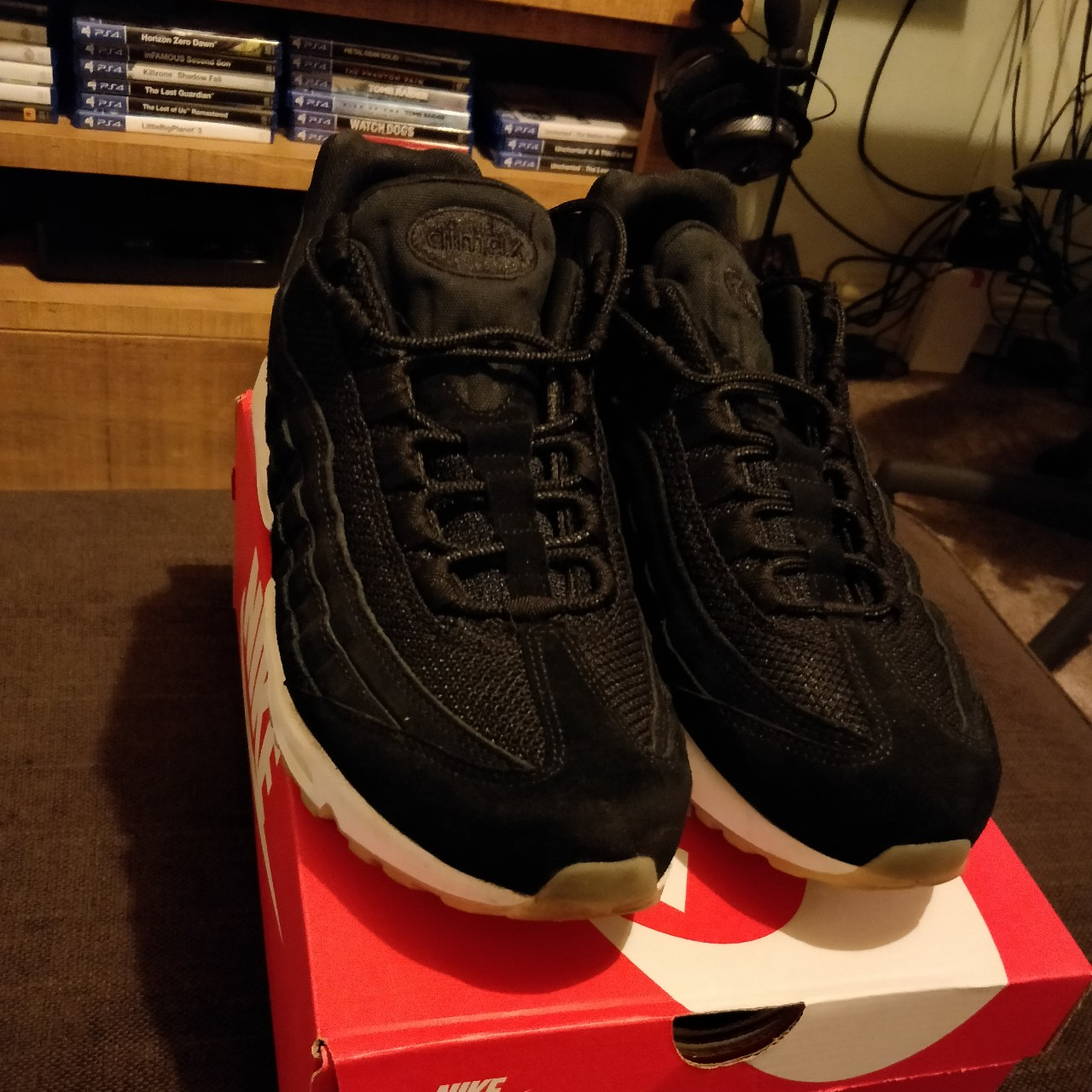 usa cheap sale amazing selection for whole family Nike Air Max 95 Premium Black Muslin UK10 9/10 worn... - Depop