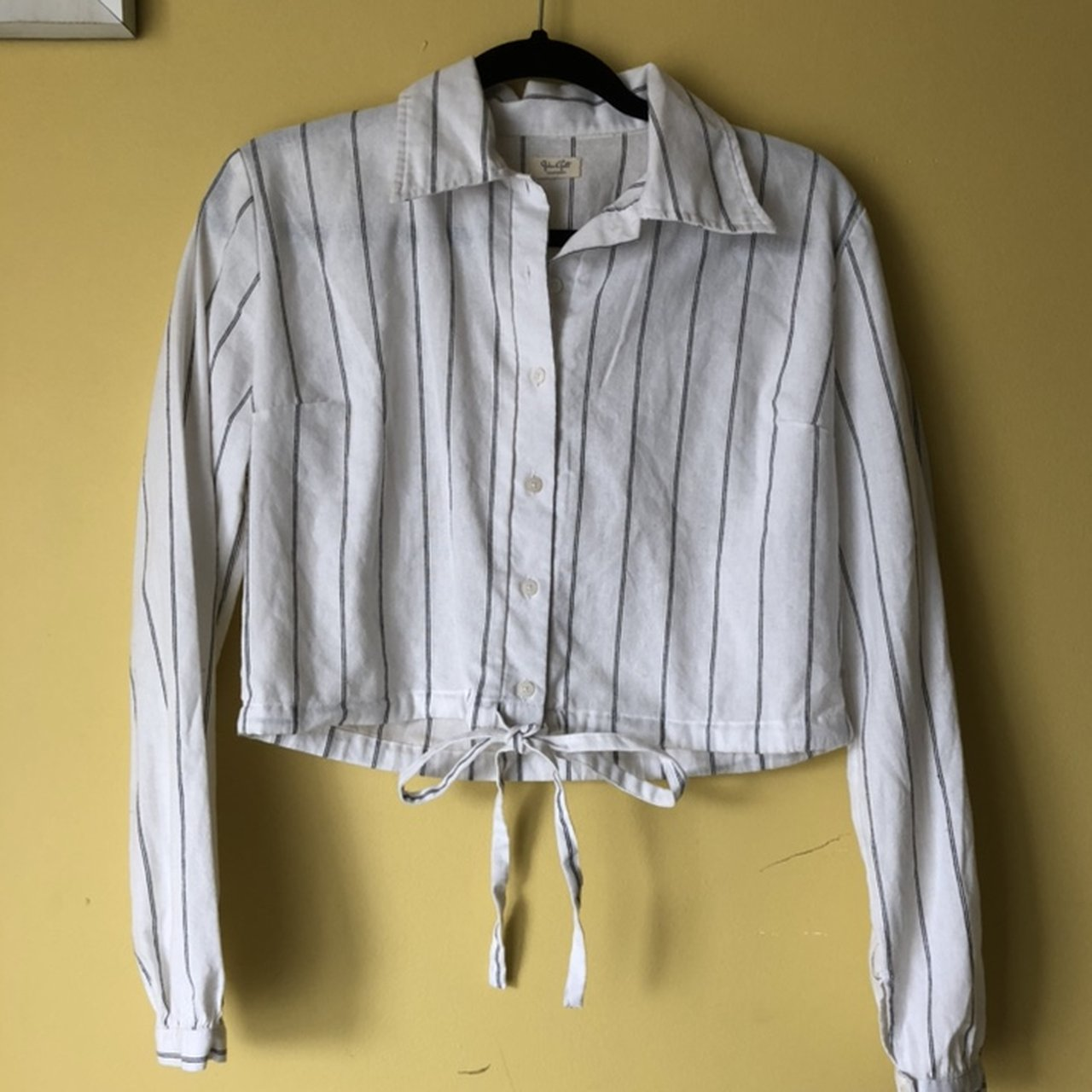 5f2a567d1c903 Brandy Melville Lenny white and black striped button down in - Depop