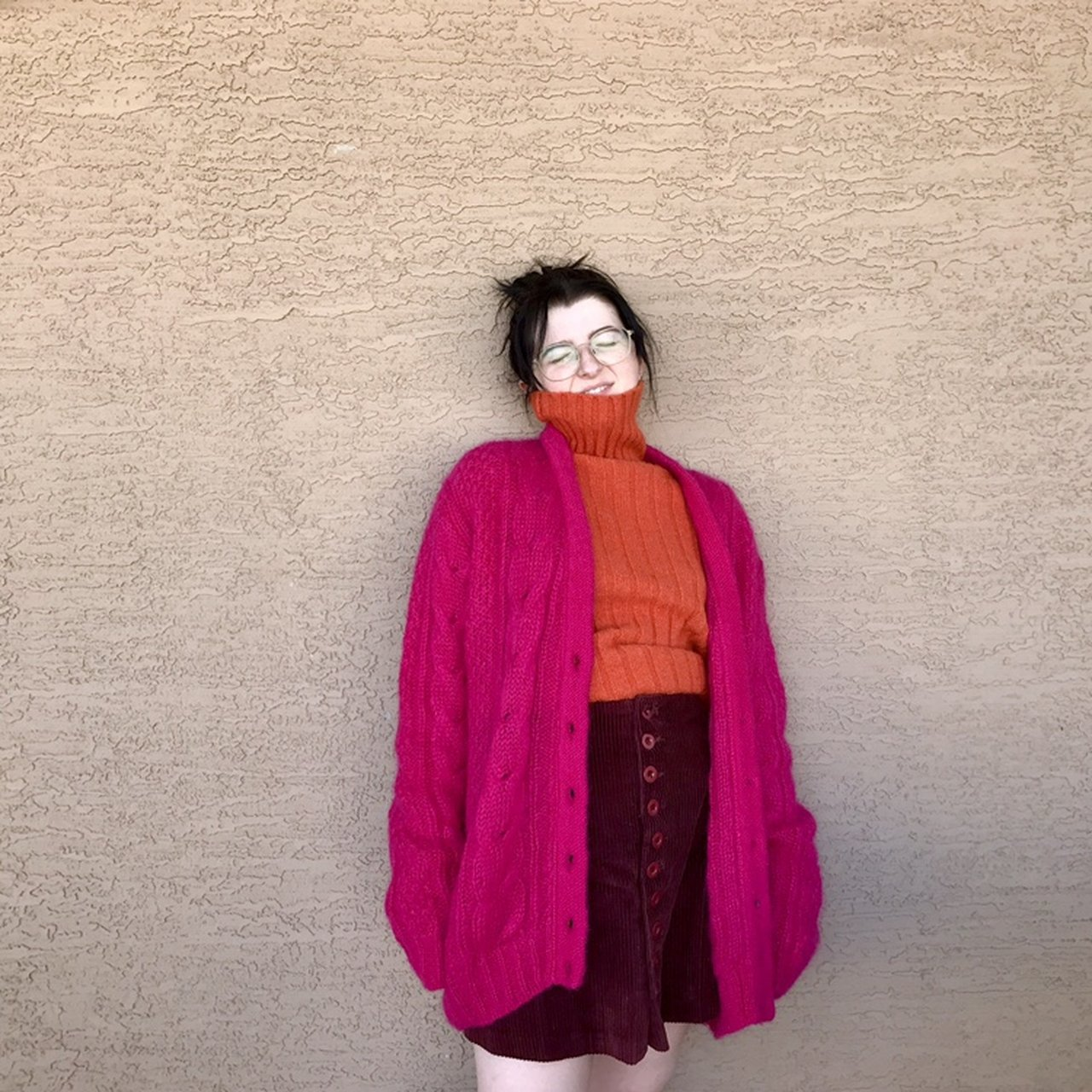5a6366a85395 Vintage 80s fuschia knit mohair cardigan. My heart  3 the I - Depop