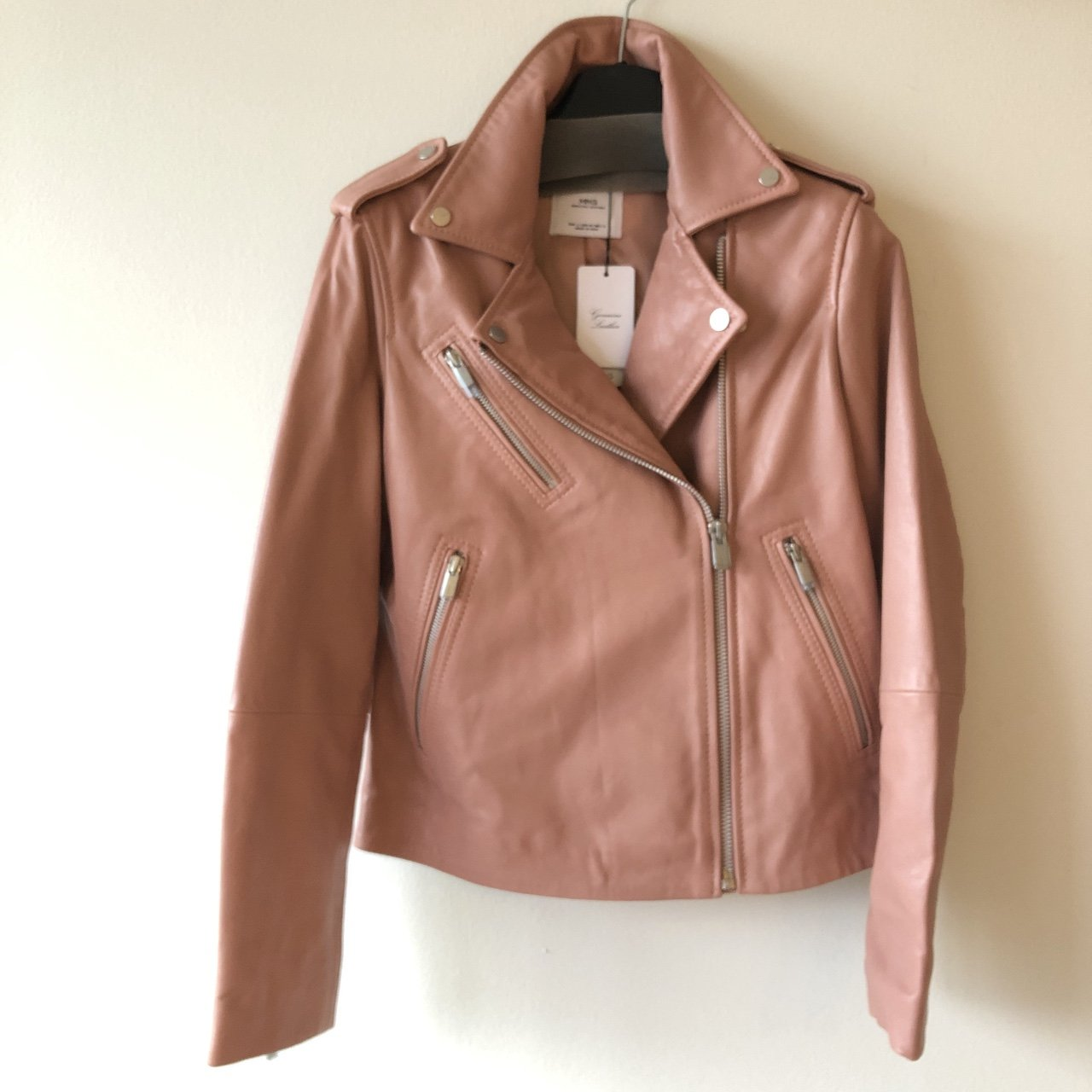 Mango Genuine Leather Biker Jacket New W Tags Color Is A Depop