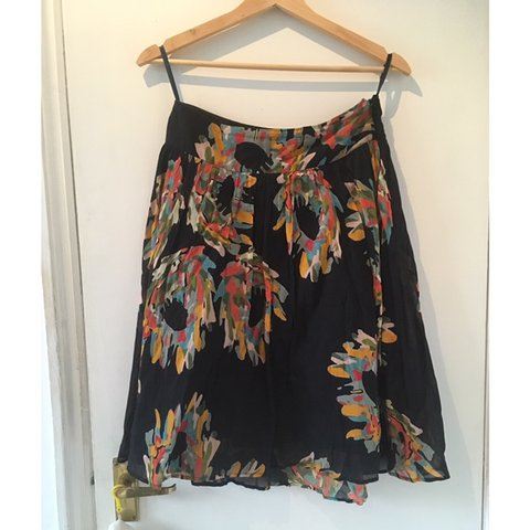 cb9887e9e French Connection A-line midi skirt, black base with autumn - Depop