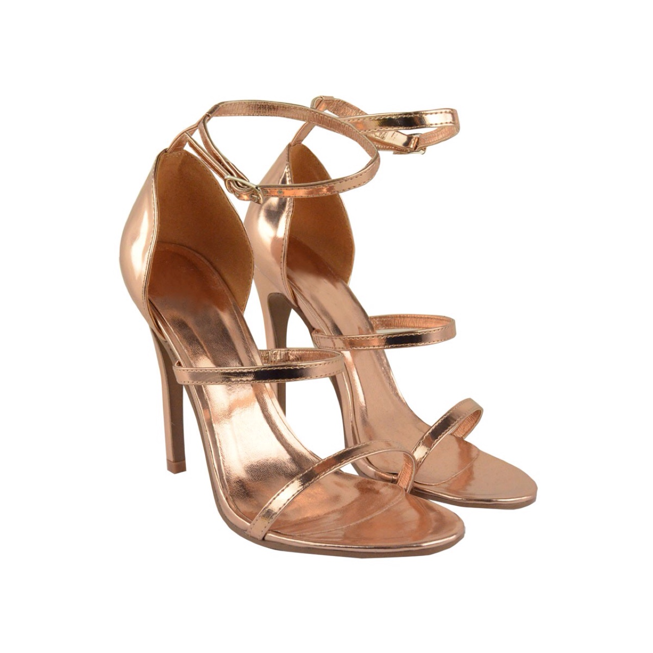 Heelberry ZANA Rose Gold Metallic High Heel Strappy