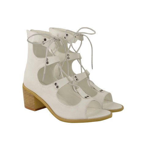 6ad1cf560ca Heelberry DEMETER White Faux Leather Lace Up Gladiator Open - Depop