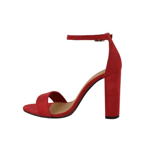 22ad74c25aed Heelberry YONCE Red Suede Block High Heel Barely There - + 3 - Depop