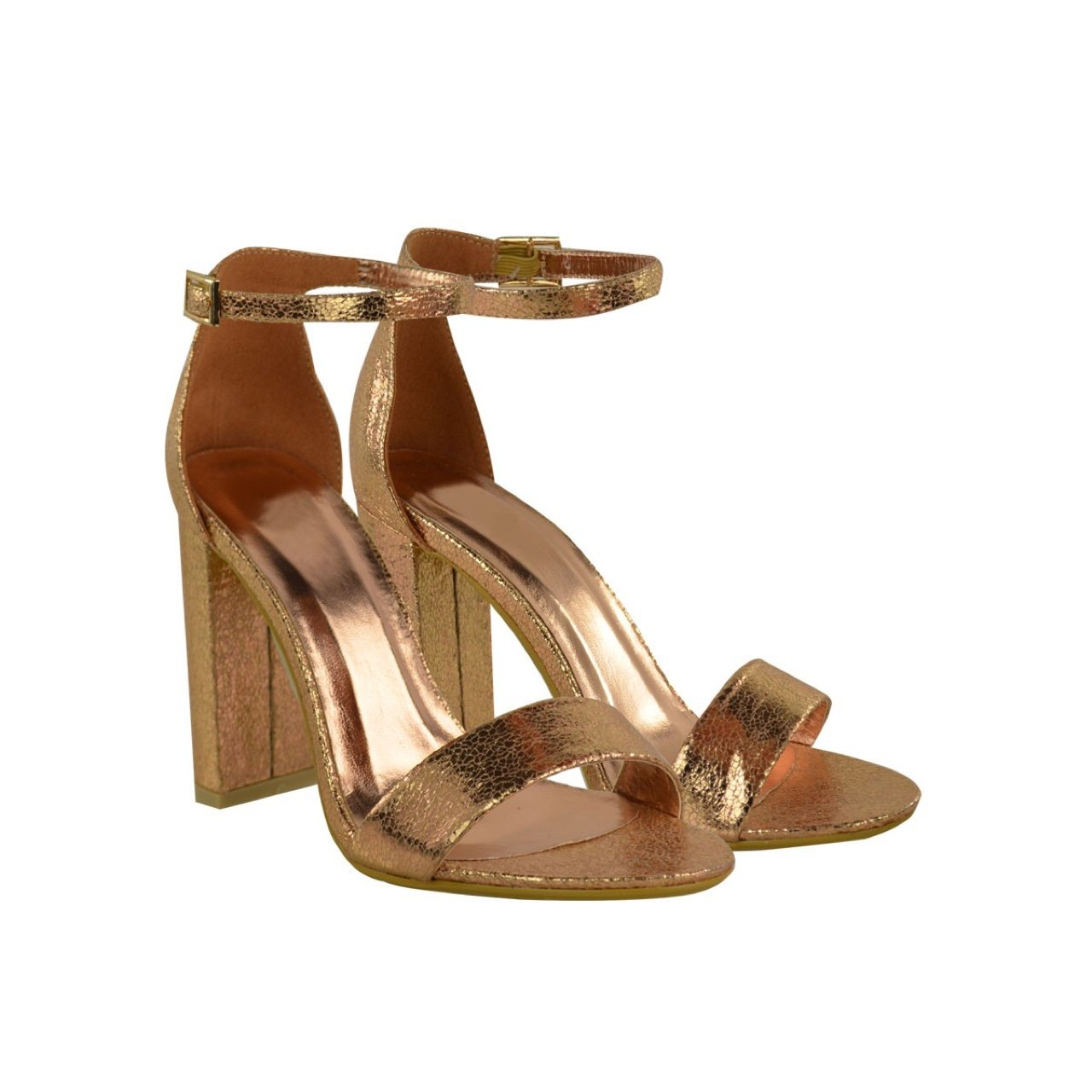 d254e9ed2c @heelberry. 3 years ago. Manchester, UK. Heelberry YONCE Rose Gold Crinkle  Block High Heel Barely There Strappy Sandals ...