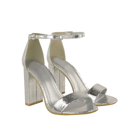 d5c748d31f @heelberry. 3 years ago. Manchester, UK. Heelberry YONCE Silver Crinkle  Block High Heel Barely There Strappy Sandals ...