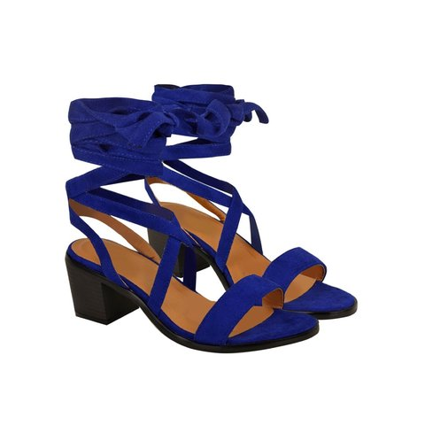 1d1ccdd87d Heelberry ANDALASIA Cobalt Blue Suede Lace Up Strappy Low - - Depop