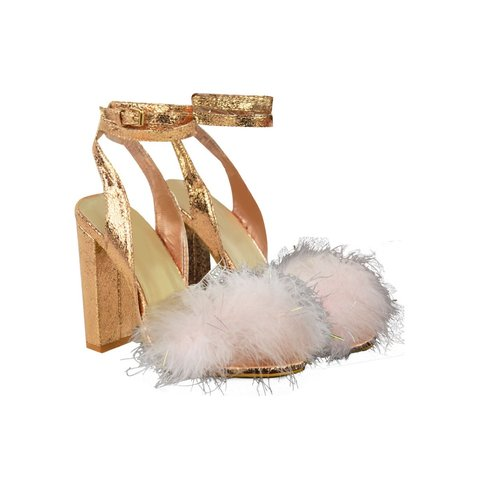 be1fbb176a5 Heelberry TALLULAH Rose Gold Crinkle Marabou Feather Ankle - - Depop