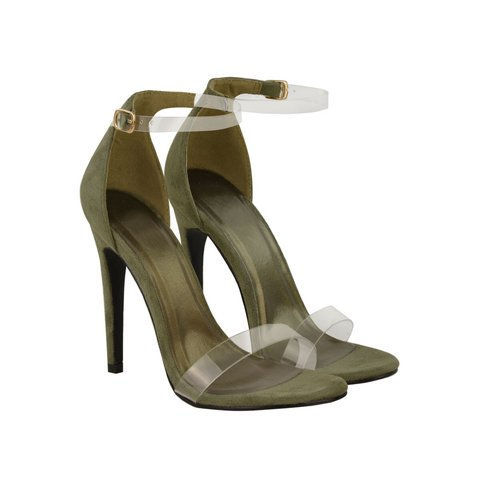 7e8461f1059955 Heelberry EMERA Khaki Green Suede Clear Ankle And Toe Strap - Depop
