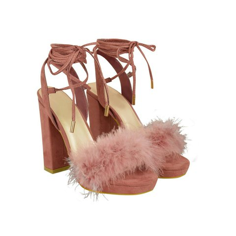 4c606a7636e9 Pink Blush Suede Lace Up Marabou Strap Block High Heel Peep - Depop