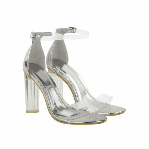 3715df67a3f5 Silver Metallic Perspex Ankle Strap Block High Heel Barely - - Depop