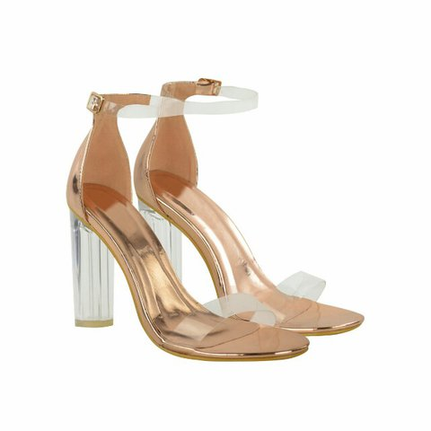 3f5b34be0282 Rose Gold Metallic Perspex Ankle Strap Block High Heel There - Depop