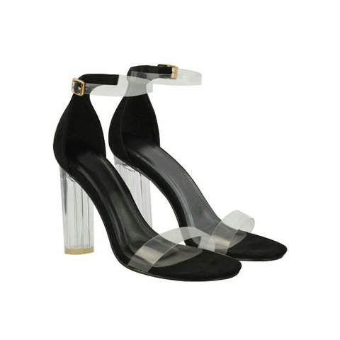 c2bd9aa7ddec7 @heelberry. 2 years ago. Salford, United Kingdom. Black Suede Perspex Ankle  Strap Block High Heel Barely There Sandals ...