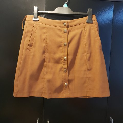 24b2bce14 F&F Tan Suade brown skirt button up front with zip on the 10 - Depop