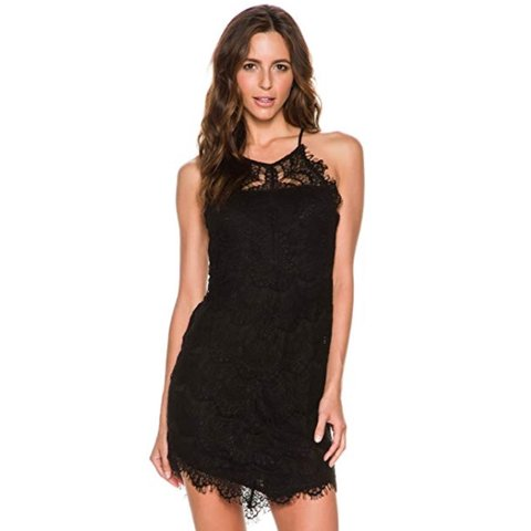 0ddc421745 Free people black lace bodycon dress perfect for New Years! - Depop