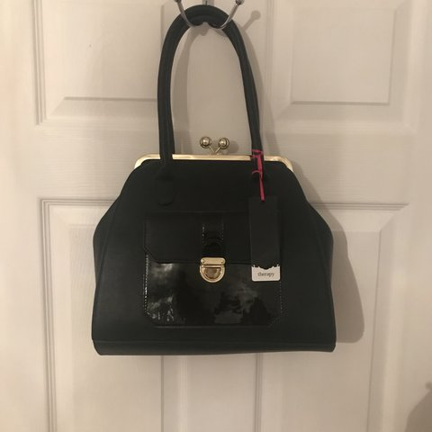 3bd4577c71e Gorgeous 'therapy' black tote bag with gold fasten clip. was - Depop