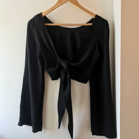 6943e730527f50 FREE POSTAGE - Black flared bell sleeve top with knot tie. - Depop