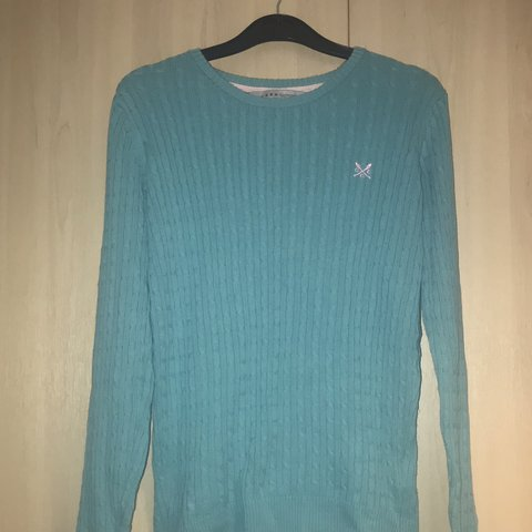 6e9a81eef62 Crew clothing company heritage cable crew neck turquoise so - Depop