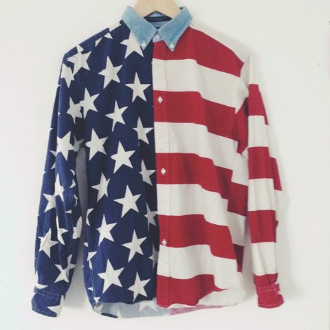 61a54058 @hgaiger. 2 years ago. London, United Kingdom. Vintage Tommy Hilfiger Stars  and Stripes long sleeve shirt. Men's size small ...
