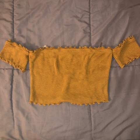 16a767939c9 Crop Top Off The Shoulder - Mustard Yellow Size Small AND on - Depop