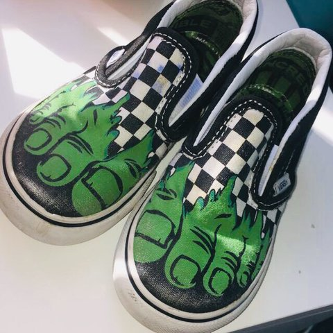 96a075661ce Kids marvel hulk limited edition vans Worn but still good - Depop