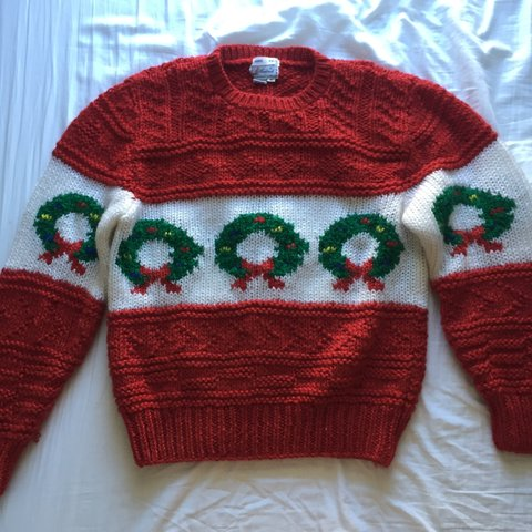 Hand Knit Ugly Christmas Wreath Sweater Depop