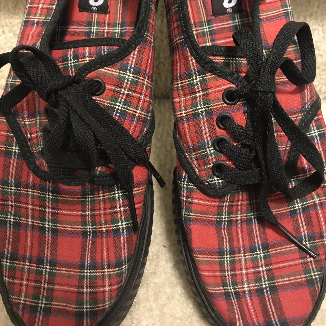 Red and black plaid platform vans. No scuffs. New without - Depop fe68d11b6