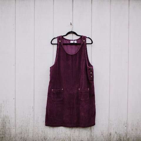 f65d47230b6 Plum corduroy dress with pockets and so many cute buttons. a - Depop
