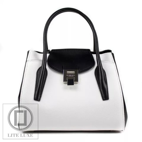 88ce17d61a96 @liteluxe. 6 months ago. Richmond, United Kingdom. MICHAEL KORS COLLECTION BANCROFT  MEDIUM CALF LEATHER SATCHEL TOTE BAG IN OPTIC WHITE
