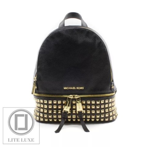 ff0fdd811ab @liteluxe. 2 months ago. Richmond, United Kingdom. MICHAEL KORS RHEA MEDIUM  STUDDED BLACK LEATHER BACKPACK