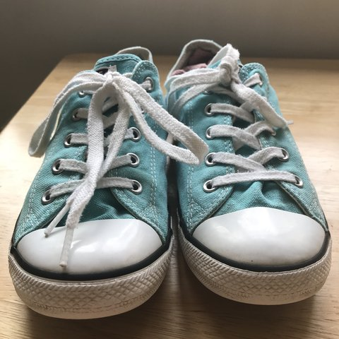 95e54f84ef1818 Converse All Star - UK size 7 - Mint light blue colour - so - Depop