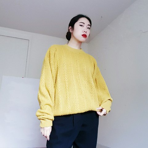 a5f68ea16ce Mustard yellow oversized sweater. Looks great tucked into or - Depop