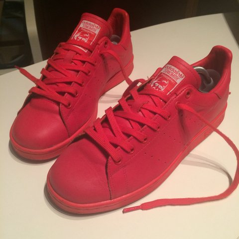 46955cbcb965e ... italy adidas stan smith x pharrell williams solid pack red used depop  d6ef9 d6694