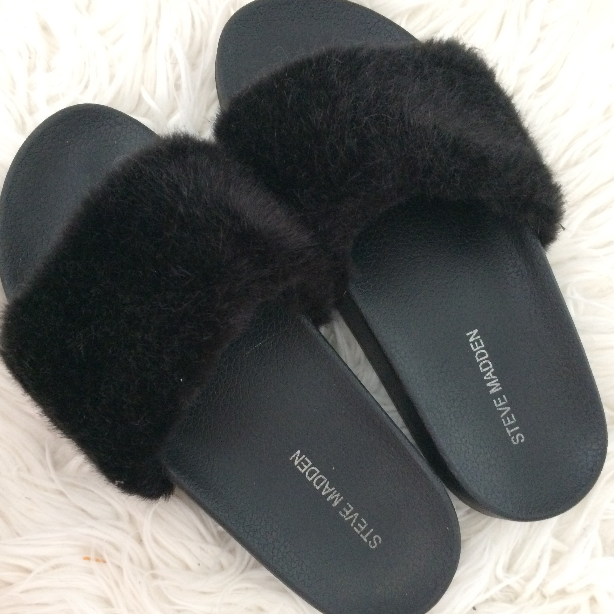 amazon new styles detailing Free shipping BLACK FURRY SLIDES. Black slides from... - Depop