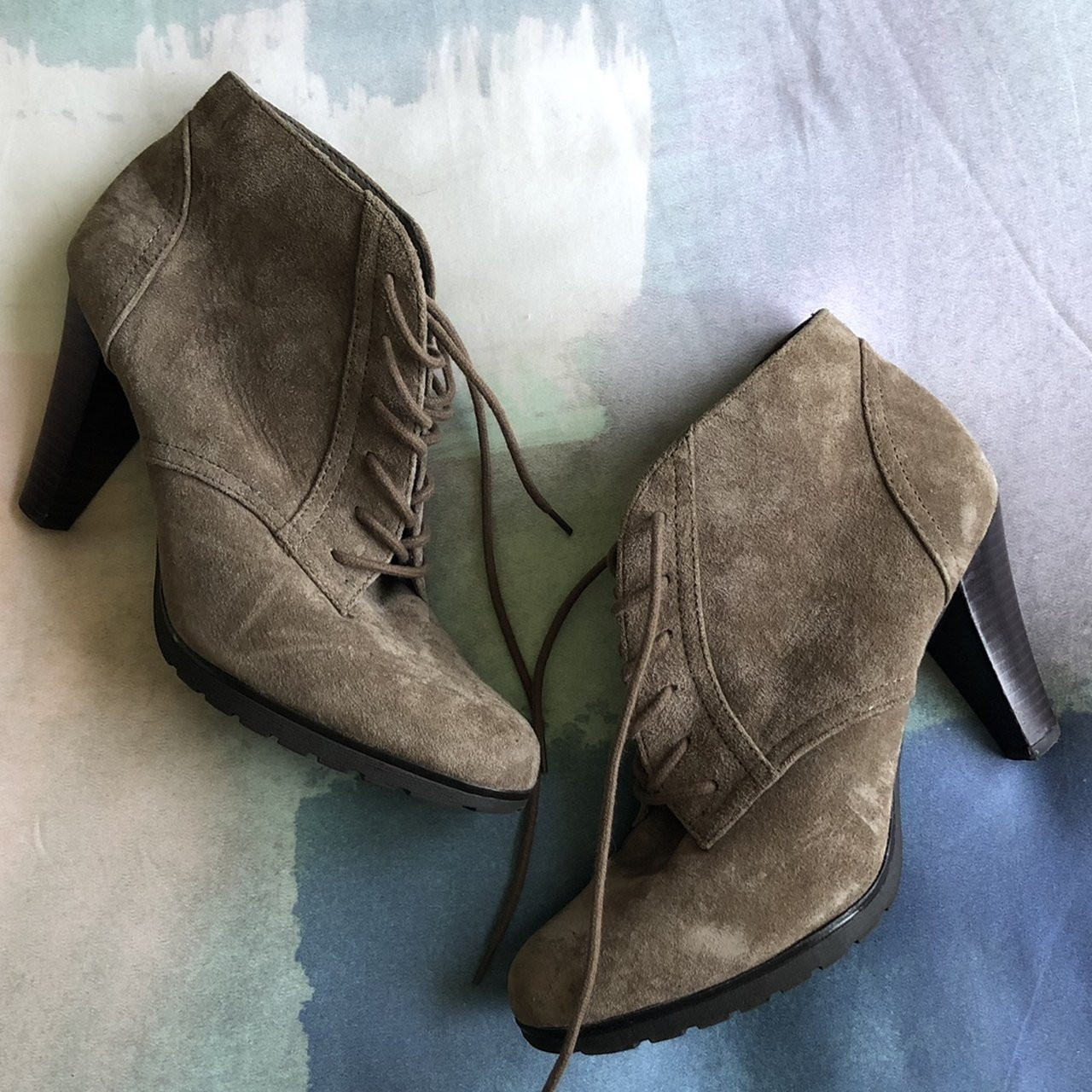 e596ed2a34d6 Grey genuine suede heeled booties