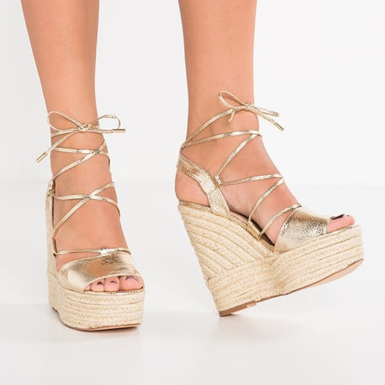 RIVER ISLAND Gold lace up wedges with