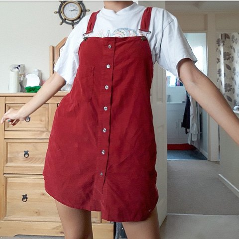 68c725022e Dark red dungaree dress From a vintage shop called Blue irl - Depop