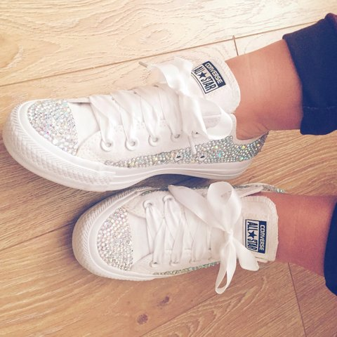 815cf14ab6ab Converse gems white sparkles hade made to order prices vary - Depop