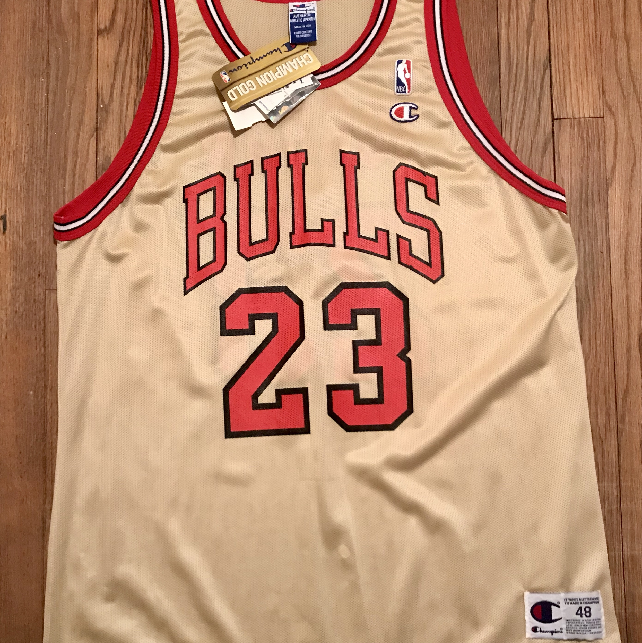 innovative design e9c47 85d85 Rare Michael Jordan Champion Gold Jersey - Depop