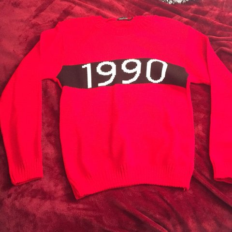 6ac2b112 Red Sweater w/ 1990 logo! Excellent condition only worn to a - Depop