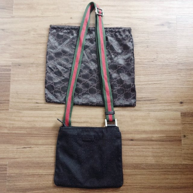 63e4cf86c71687 @minsandnins. 5 years ago. London, UK. Authentic Black Gucci GG fabric with leather  trim Shoulder ...