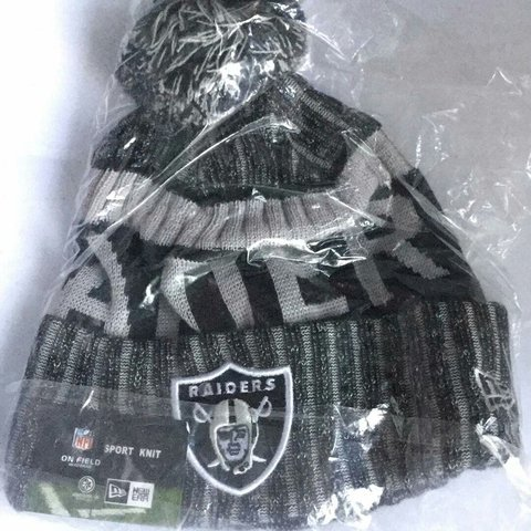 967c3828bc8 Oakland Raiders NFL beanie hat winter bobble knit Price not - Depop