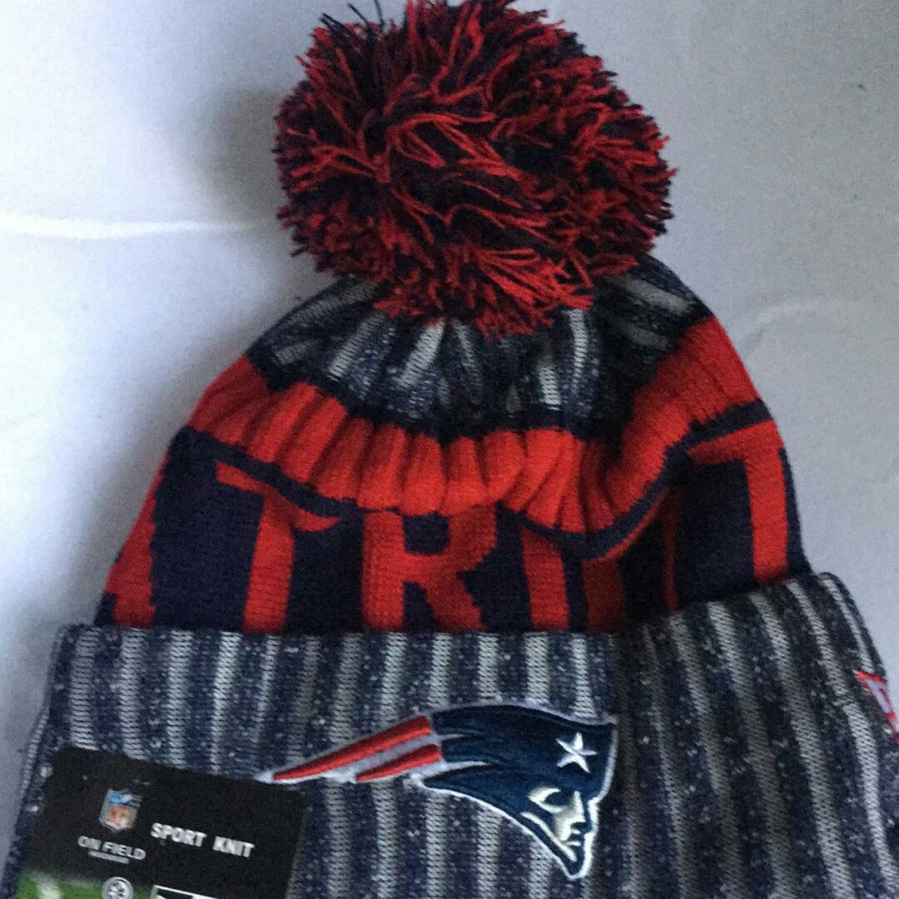 New England patriots beanie winter bobble hat PRICE NOT One - Depop 11541ff4446